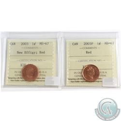 2003P & 2003 New Effigy Canada 1-cent ICCS Certified MS-67 Red. 2pcs