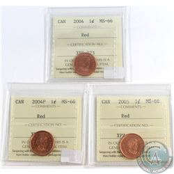 2004, 2004P & 2005 Canada 1-cent ICCS Certified MS-66 Red. 3pcs