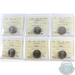 1961, 1963, 1965, 1970, 1971 & 1972 Canada 5-cent ICCS Certified PL-65 Cameo. 6pcs
