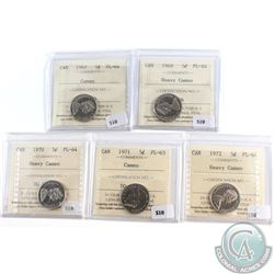 Lot of 5x Canada 5-cent ICCS Certified 1967 PL-64 Cameo, 1969 PL-64 Heavy Cameo, 1970 PL-64 Heavy Ca