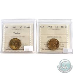 1942 Tombac & 1943 Canada 5-cent ICCS Certified MS-64. 2pcs