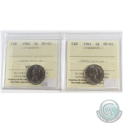 1960 & 1961 Canada 5-cent ICCS Certified MS-65. 2pcs