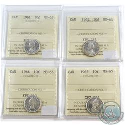 1961, 1962, 1964 & 1965 Canada 10-cent ICCS Certified MS-65. 4pcs