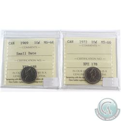 1969 Small Date & 1972 Canada 10-cent ICCS Certified MS-66. 2pcs