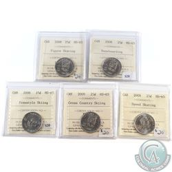 Lot of 5x Canada 25-cent ICCS Certified MS-65 Dated 2008 Figure Skating, 2008 Snowboarding, 2008 Fre