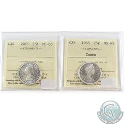 Lot of 2x Canada 25-cent ICCS Certified 1963 MS-65 & 1965 MS-65 Cameo. 2pcs