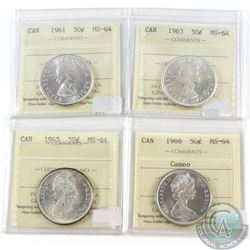 Lot of 4x Canada 50-cent ICCS Certified MS-64 Dated 1961, 1963, 1965 & 1966 Cameo. 4pcs