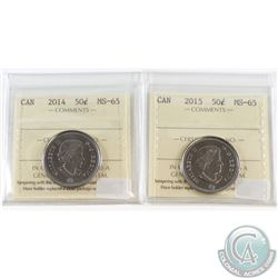 2014 & 2015 Canada 50-cent ICCS Certified MS-65. 2pcs