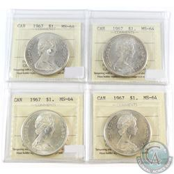 4x 1967 Canada Silver $1 ICCS Certified MS-64. 4pcs