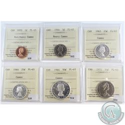 Lot of 6x Canada ICCS Certified PL-65; 1970 1-cent Red Heavy Cameo, 1964 5-cents Heavy Cameo, 1963 2