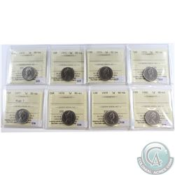 1970, 1971, 1974, 1976, 1977 High 7, 1979 & 1980 Canada 5-cent ICCS Certified MS-64. 8pcs