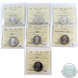 Lot of 7x Canada 25-cent ICCS Certified PL-65 Dated 1961, 1963 Cameo, 1964 Cameo, 1965 Cameo, 1966 C