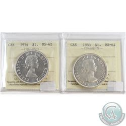 1954 & 1955 Canada Silver $1 ICCS Certified MS-62. 2pcs