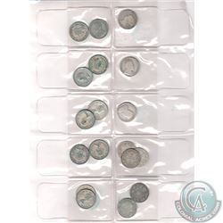 Estate Lot of 18x Canada 25-cents Dated 1872-1964 in Plastic Pouch Page (most coins have turned a gr
