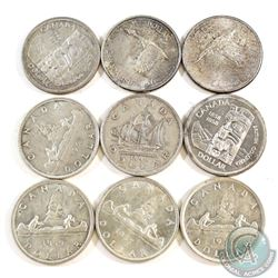Lot of 9x Canada Silver Dollars Dated 1949-1967. 9pcs