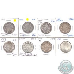 Estate Lot of 8x Canada 50-cents Dated 1913-1967 with Some Varieties as Stated on Holders. 8pcs