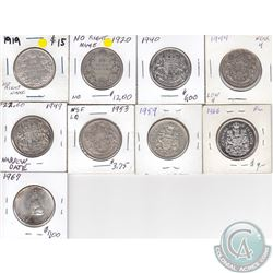 Estate Lot of 9x Canada 50-cents Dated 1919, 1920, 1944 Near 4, 1949 Narrow Date, 1953 NSF LD, 1959,