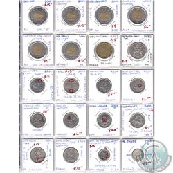 Errors and Varieties Canada 10-cent, 25-cent, 50-cent, Loon $1, $2 & 2x USA 25-cent. 20pcs
