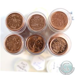 Estate Lot of 6x Canada 1-cent Tubes of 50pcs. You will receive 2001 No P, 2002P, 2007 Magnetic, 200