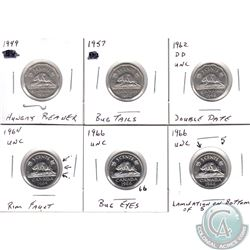 Estate Lot of 6x Canada 5-cents Error Coins. You will receive 1949 Hungry Beaver, 1957 Bug tail, 196