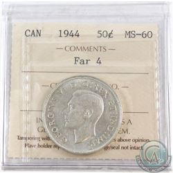50-cents Canada 1944 Far 4 ICCS Certified MS-60