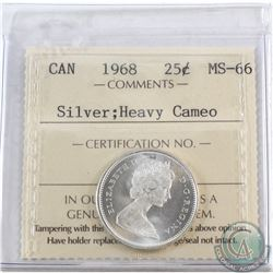 25-cents Canada 1968 Silver ICCS Certified MS-66 Heavy Cameo