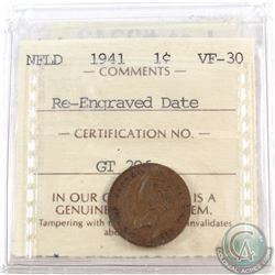 1-cent Newfoundland 1941 Re-Engraved Date ICCS Certified VF-30