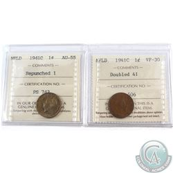 1-cent Newfoundland 1941C Repunched 1 ICCS Certified AU-55 & 1-cent Newfoundland 1941C Doubled 41 IC
