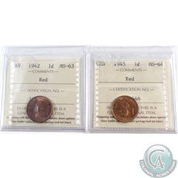 1-cent Canada 1942 ICCS Certified MS-63 Red & 1-cent 1945 ICCS MS-64 Red. 2pcs