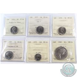 Lot of 6x Canada ICCS Certified Coins. You will receive 1974 5-cents Double 4 SP-64 Cameo, 1977 5-ce