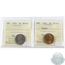 5-cents Canada 1934 ICCS Certified EF-40 & 5-cents 1942 Tombac MS-63. 2pcs