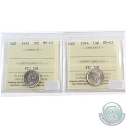 10-cents Canada 1943 & 1944 ICCS Certified MS-63. 2pcs