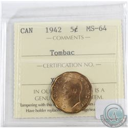 5-cents Canada 1942 Tombac ICCS Certified MS-64