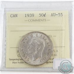50-cents Canada 1939 ICCS Certified AU-55