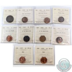 Estate Lot of 10x Canada ICCS Certified 1-cent 1888-1959. You will receive coins graded from F-12 to