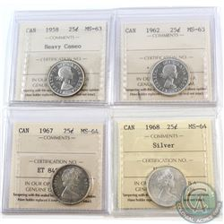 Estate Lot of 4x Canada ICCS Certified 25-cents Dated 1958-1968. You will receive coins graded MS-63