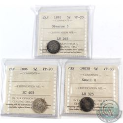 Lot of 3x Canada 5-cent ICCS Certified 1891 Obverse 5 VF-20, 1896 VF-20 & 1903H Small H VF-30. 3pcs