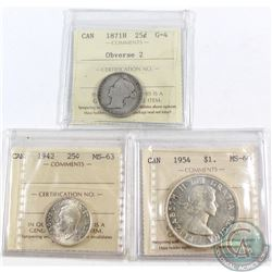 Lot of 3x Canada ICCS Certified 25-cents & Silver $1. You will receive 1871H 25-cents Obverse 2 G-4,