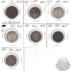 Estate Lot of 7x Maritimes Coinage. You will receive 1861 New Brunswick 1-cent (Holed), 3x 1917C New