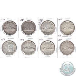 Estate Lot of 8x Canada Silver $1 Dated 1937, 1939, 1953 NSF, 1957 1 WL, 1958, 1959, 1960 & 1961. 8p