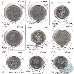 Estate Lot of 9x Canada Error Coins Dated 1969-1976. You will receive 5x 50-cents & 4x Nickel $1. 9p