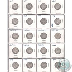 Estate Lot of 1940-1950 Canada Silver 25-cents Collection. You will receive the following dates: 2x1