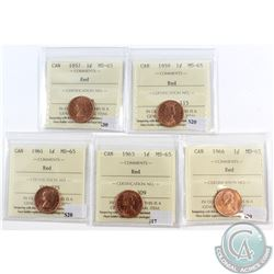 Lot of 1957-1966 Canada 1-cent ICCS Certified MS-65 Red. You will receive the following dates: 1957,