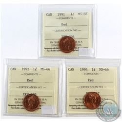 Lot of 1991, 1993, 1994 Canada 1-cent ICCS Certified MS-66 Red. 3pcs.