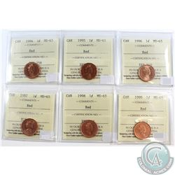Lot of 1994-1999 Canada 1-cent ICCS Certified MS-65 Red. You will receive each date between 1994 and