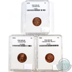 1978, 1979, 1985 Blt 5 Canada 1-cent PNG Certified MS-66 Red. Please Note holders may have faint scr