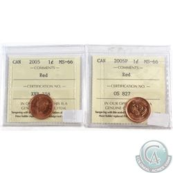 2005 & 2005P Canada 1-cent ICCS Certified MS-66 Red. 2pcs