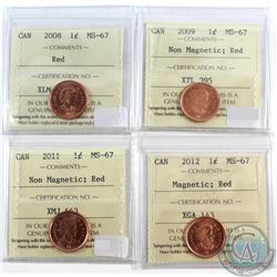 2008, 2009 Non Mag, 2011 Non Mag, 2012 Mag. Canada 1-cent ICCS Certified MS-67 Red. 4pcs.