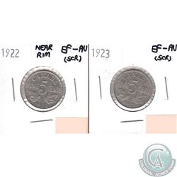 1922 Near Rim & 1923 Canada 5-cents in EF-AU Condition. Please Note both coins have minor scratches.
