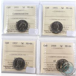 Lot of 1951-1959 Canada 5-cent ICCS Certified MS-64. You will receive the following dates: 1951 Comm